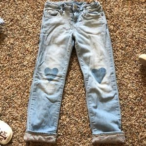 Faded light wash gap lined jeans with hearts!